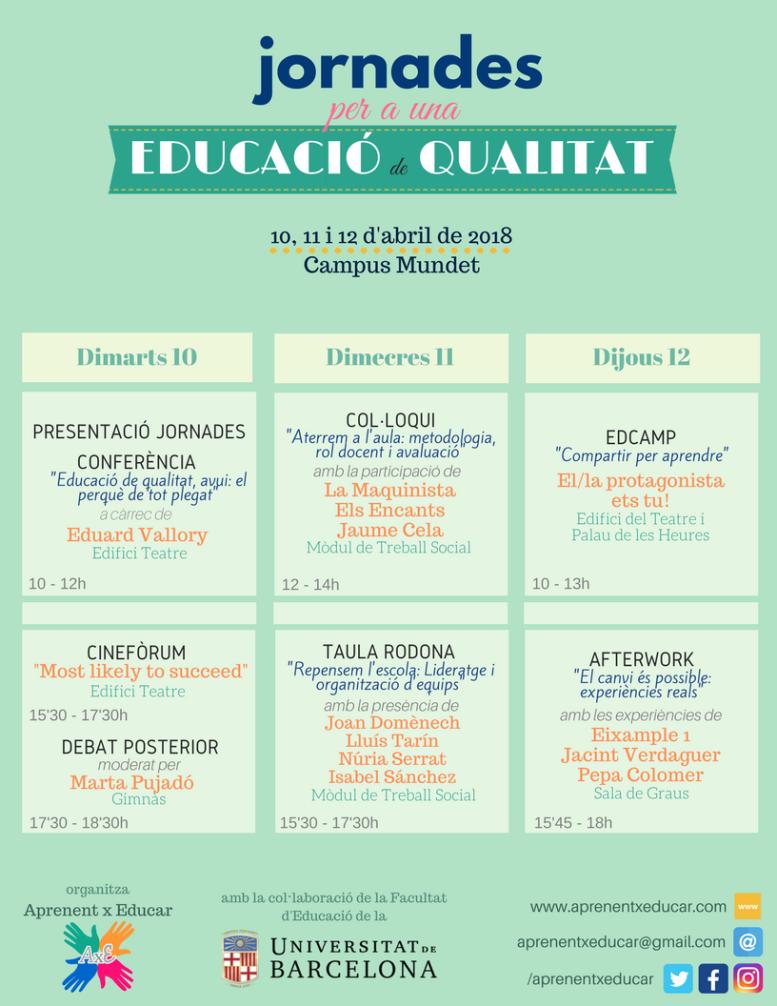 Cartell calendari Jornades